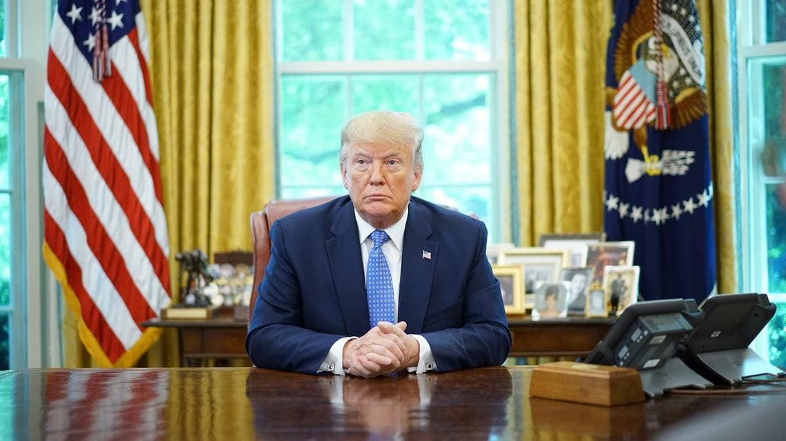 US President Donald Trump speaks during a meeting with advisors about fentanyl in the Oval Office of the White House in Washington, DC on June 25, 2019. (AFP)