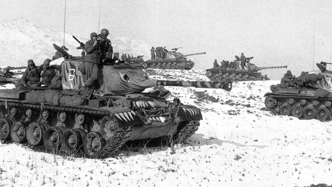 جانب من الدبابات الأميركية خلال الحرب الكورية