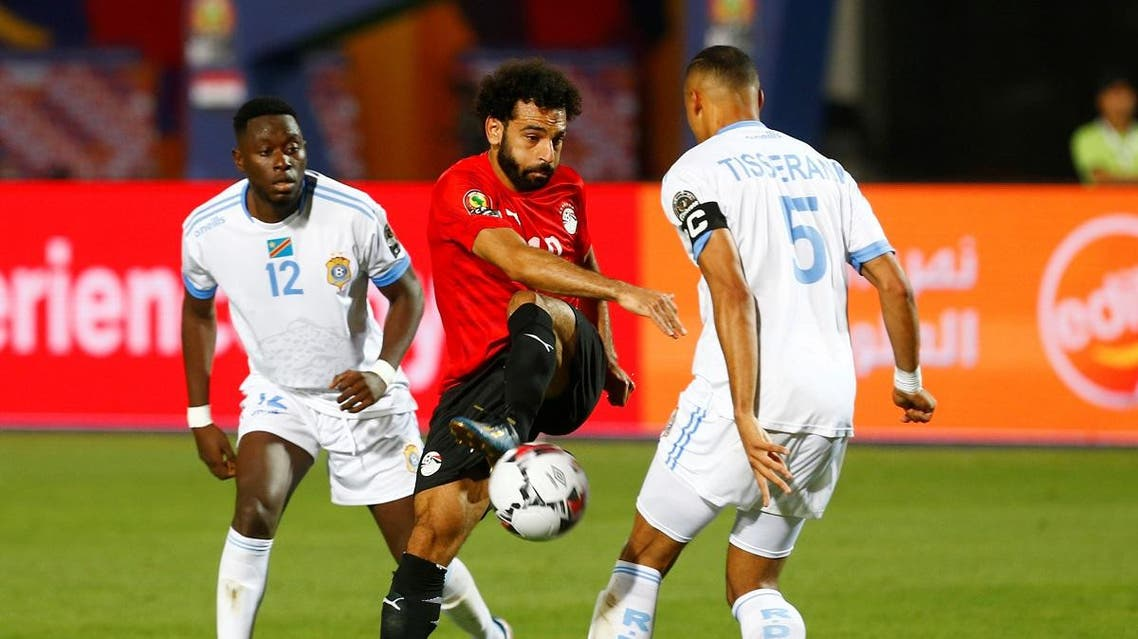 Egypt's Mohamed Salah shoots a goal. (Reuters)