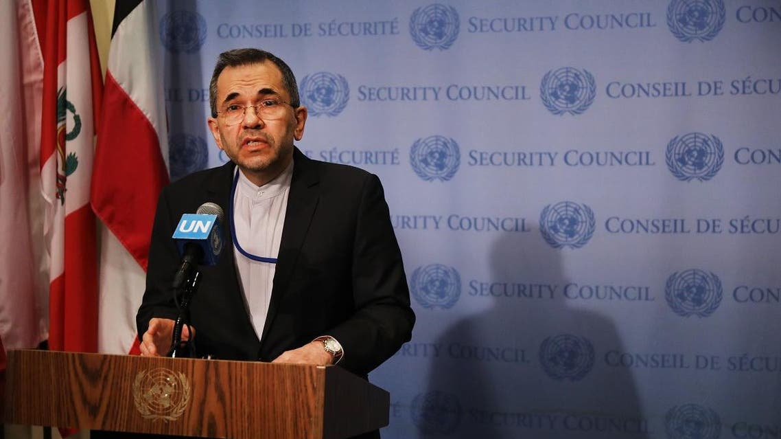 Iran's Ambassador to the United Nations (UN) Majid Takht Ravanchi speaks to the media before a meeting with other UN members on the escalating situation with the United States At United Nation headquarters on June 24, 2019 in New York City. (AFP)