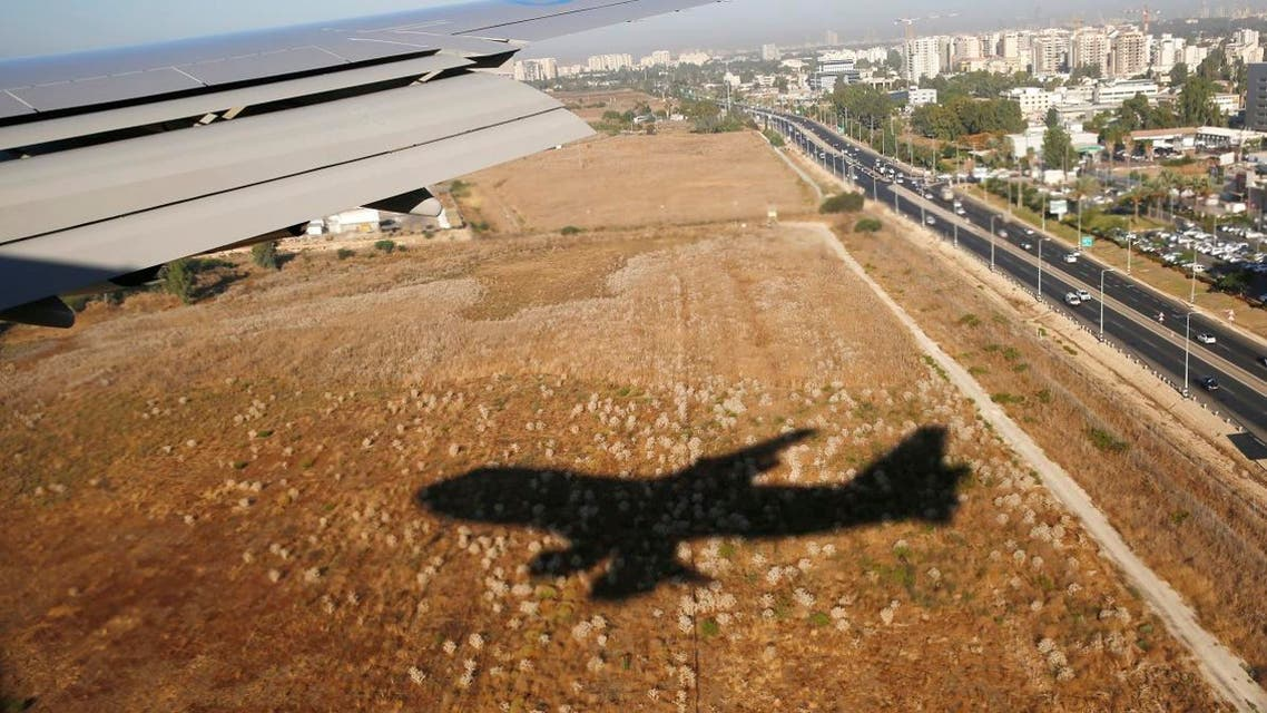 The shadow of an airplane is seen coming into land at Ben Gurion International Airport in Tel Aviv. (AP)