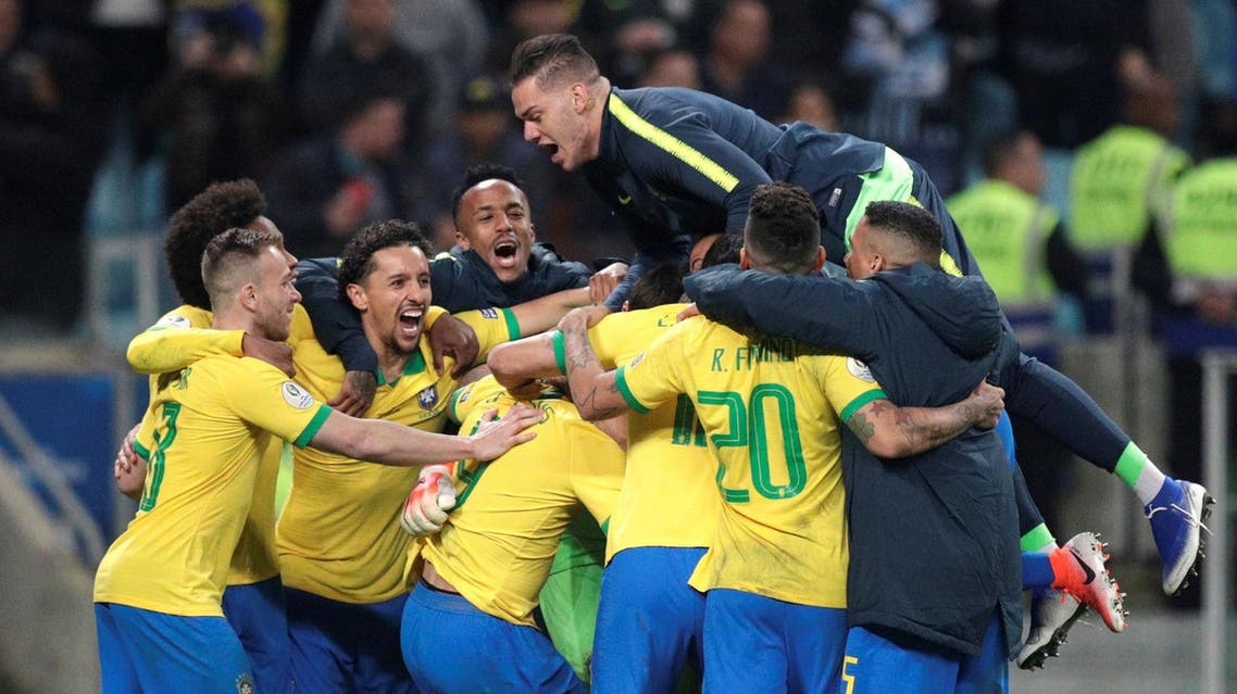 Brazil players celebrate after the penalty shootout on June 27, 2019. (Reuters)