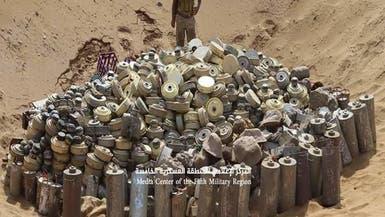 شاهد.. الجيش اليمني يتلف 5 آلاف لغم حوثي في حجة