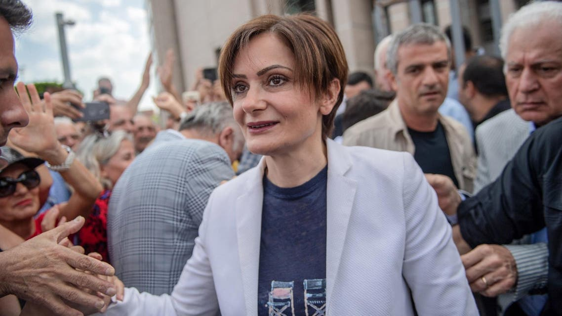 Canan Kaftancioglu (C) arrives at the courthouse in Istanbul on June 28, 2019. (AFP)