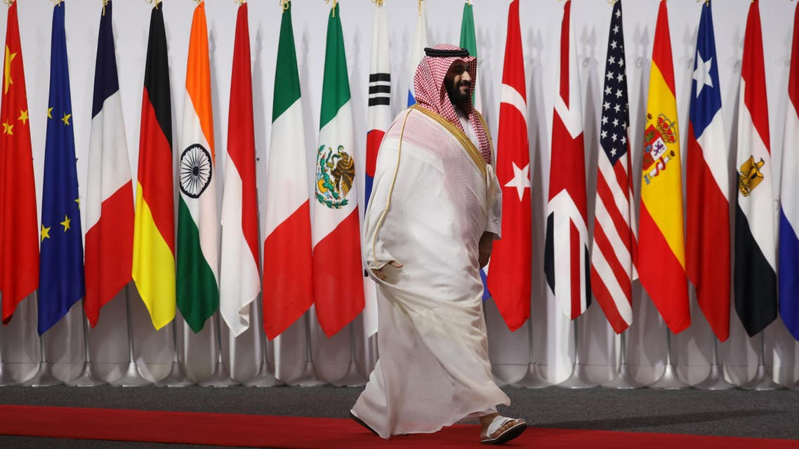 Saudi Crown Prince Mohamed at the G20 summit in Osaka on June 28, 2019. (AFP)