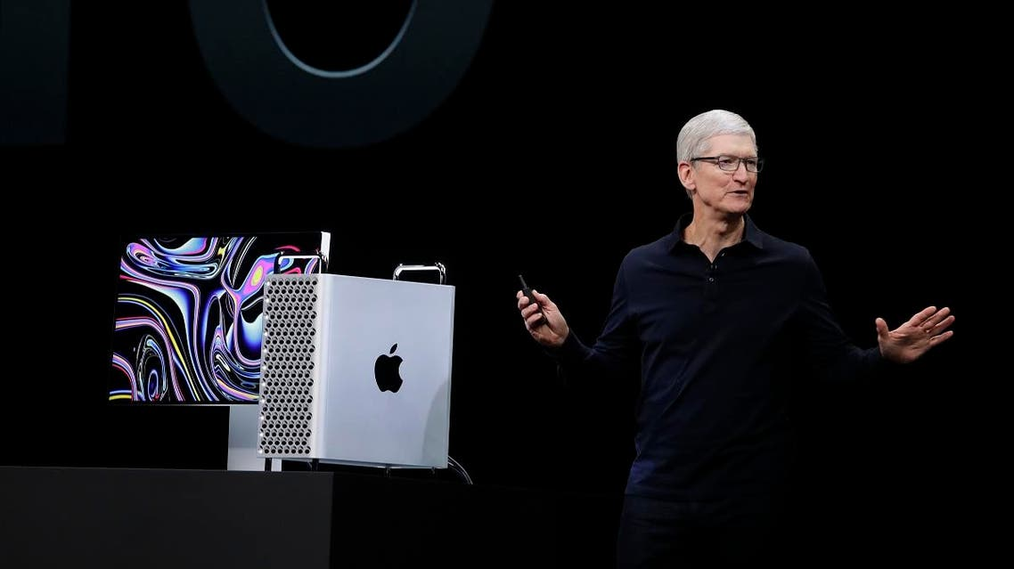 Apple CEO Tim Cook speaks about the Mac Pro at the Apple Worldwide Developers Conference in San Jose, California, on June 3, 2019. (AP)