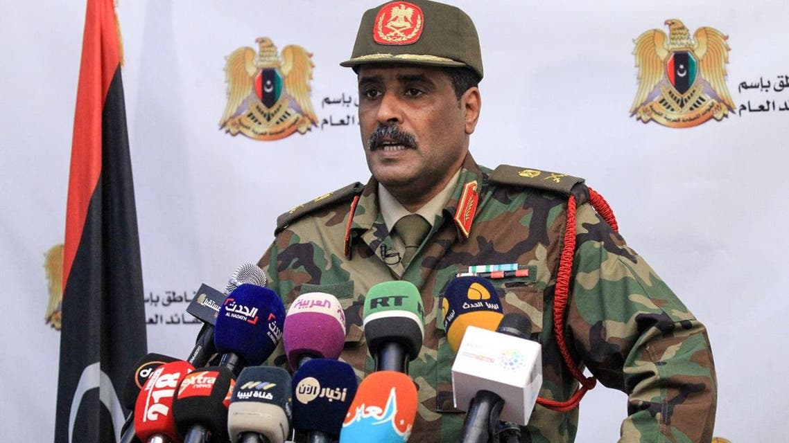 Brigadier General Ahmed al-Mesmari, spokesman of the self-proclaimed Libyan National Army (LNA) loyal to strongman Khalifa Haftar, speaks during a press conference in his office in Benghazi on April 20, 2019. (AFP)