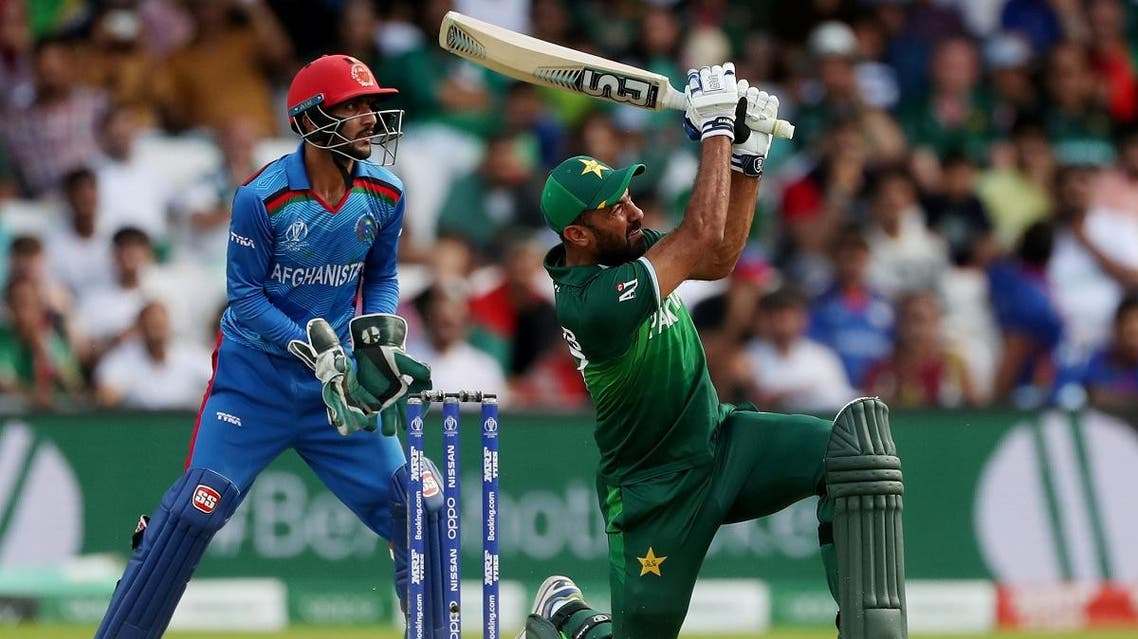 Pakistan's Wahab Riaz hits a six against Afghanistan at Headingley, Leeds, Britain, in the ICC Cricket World Cup  group match on June 29, 2019. (Reuters)