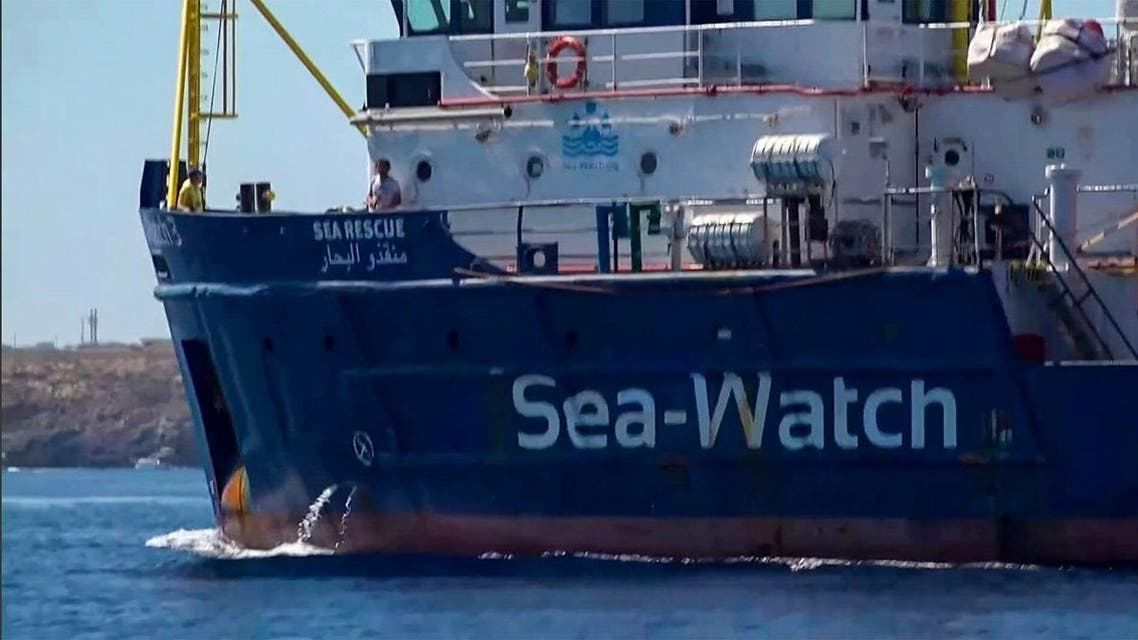 The Sea-Watch 3 charity ship heading towards the Italian port of Lampedusa, Sicily, on July 29, 2019. (AFP)