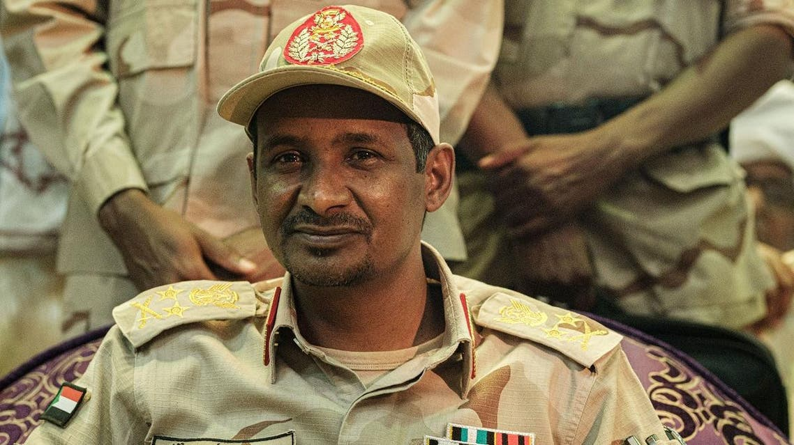 Sudanese General Mohamed Hamdan Dagalo, also known as Himediti, deputy head of Sudan's ruling Transitional Military Council (TMC) and commander of the Rapid Support Forces (RSF) paramilitaries, looks on during a meeting with his supporters in the capital Khartoum on June 18, 2019. (AFP)