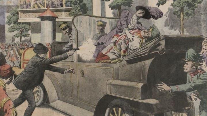رسم تخيلي لحادثة اغتيال ولي عهد النمسا فرانز فرديناند