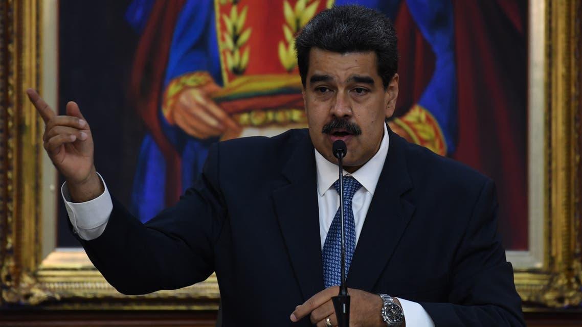 Venezuelan President Nicolas Maduro gestures as he speaks during the Simon Bolivar national journalism award ceremony at Miraflores presidential palace in Caracas on June 27, 2019.