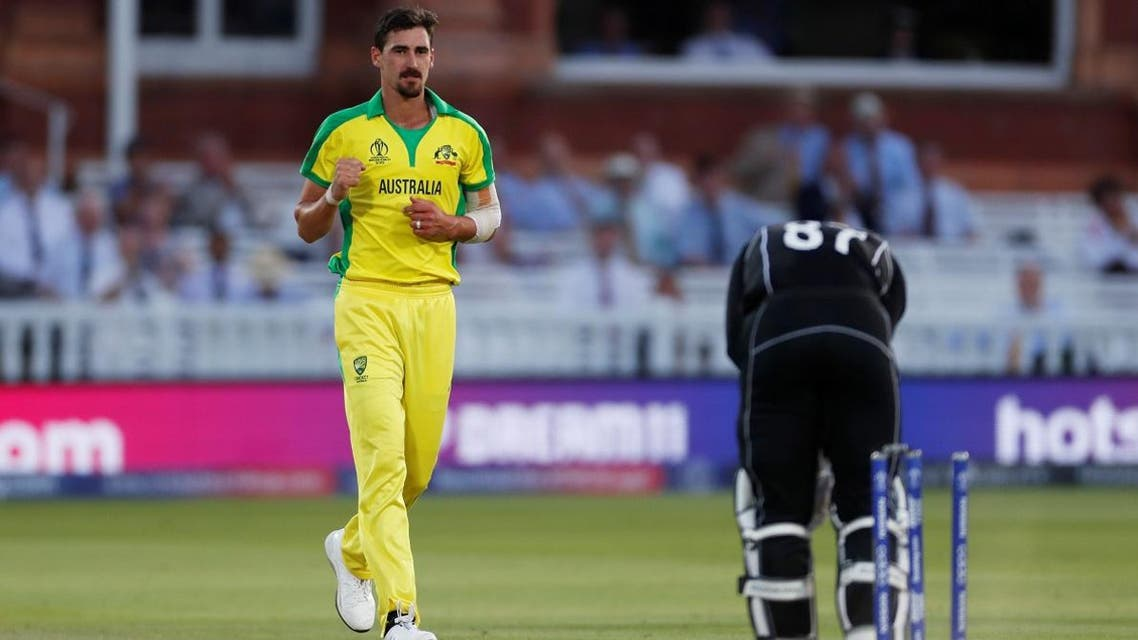 Australia's Mitchell Starc celebrates taking the wicket of New Zealand's Lockie Ferguson at Lord's, London, during the ICC Cricket World Cup group match on June 29, 2019. (Reuters)