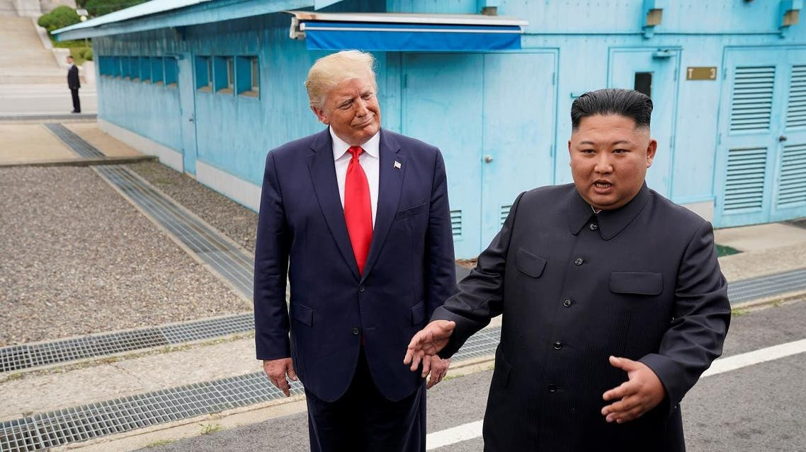 US President Donald Trump meets with North Korean leader Kim Jong Un at the demilitarized zone separating the two Koreas, in Panmunjom, South Korea, on June 30, 2019. (Reuters)