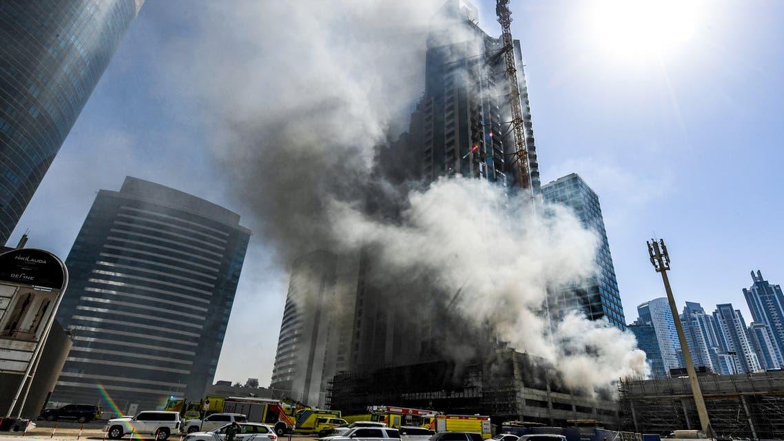 حريق في الخليج التجاري في دبي