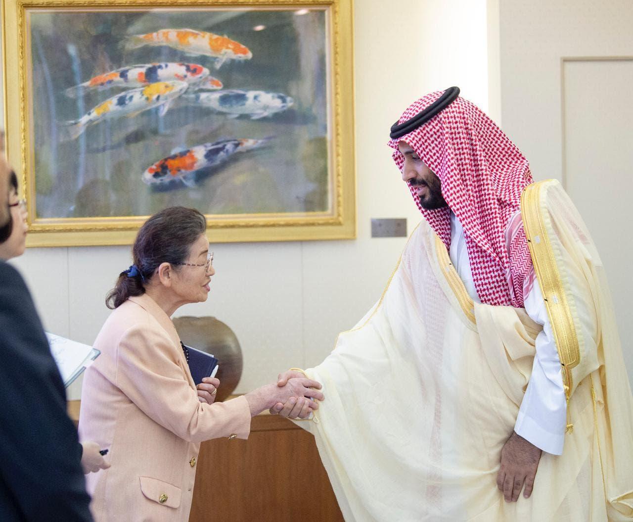 محمد بن سلمان يستقبل المرأة اليابانية التي شهدت سقوط قنبلة هيروشيما