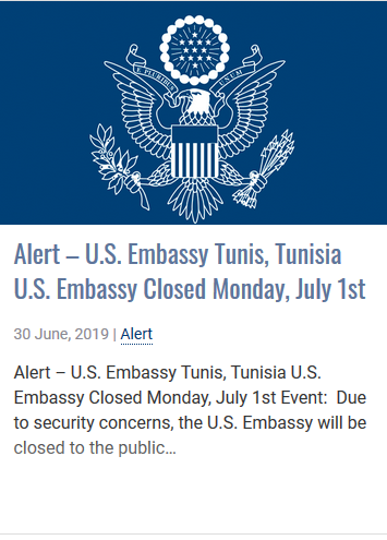 البلاغ الذي وضعته السفارة الأميركية في تونس على موقعها الإلكتروني