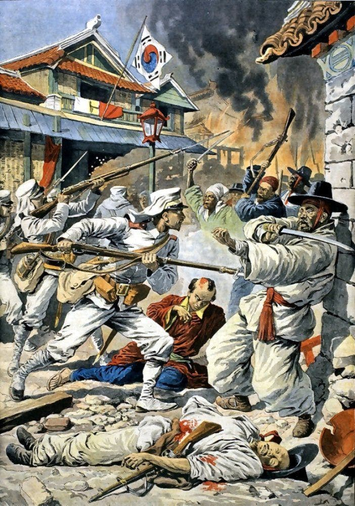 لوحة تجسد التدخل الياباني بشبه الجزيرة الكورية عقب الحرب الروسية اليابانية