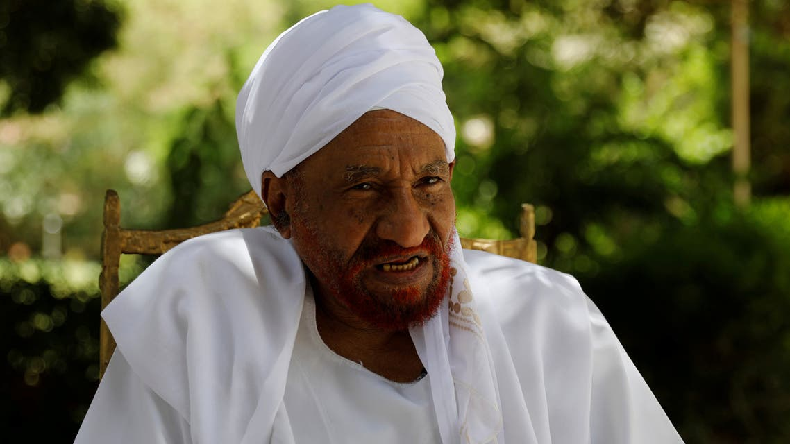 FILE PHOTO: Leading Sudanese opposition figure Sadiq al-Mahdi, Sudan's last democratically elected prime minister, who was overthrown in 1989 in a bloodless coup by army officer Omar Hassan al-Bashir, talks during an interview with Reuters in Khartoum, Sudan, April 25, 2019. REUTERS/Umit Bektas/File Photo
