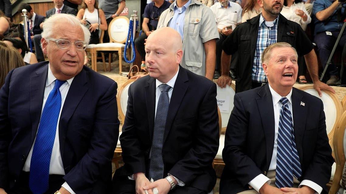 US Ambassador Friedman, US Mideast envoy Greenblatt, and US Senator Lindsey Graham, attend the inauguration of a Jewish heritage site in East Jerusalem. (Reuters)
