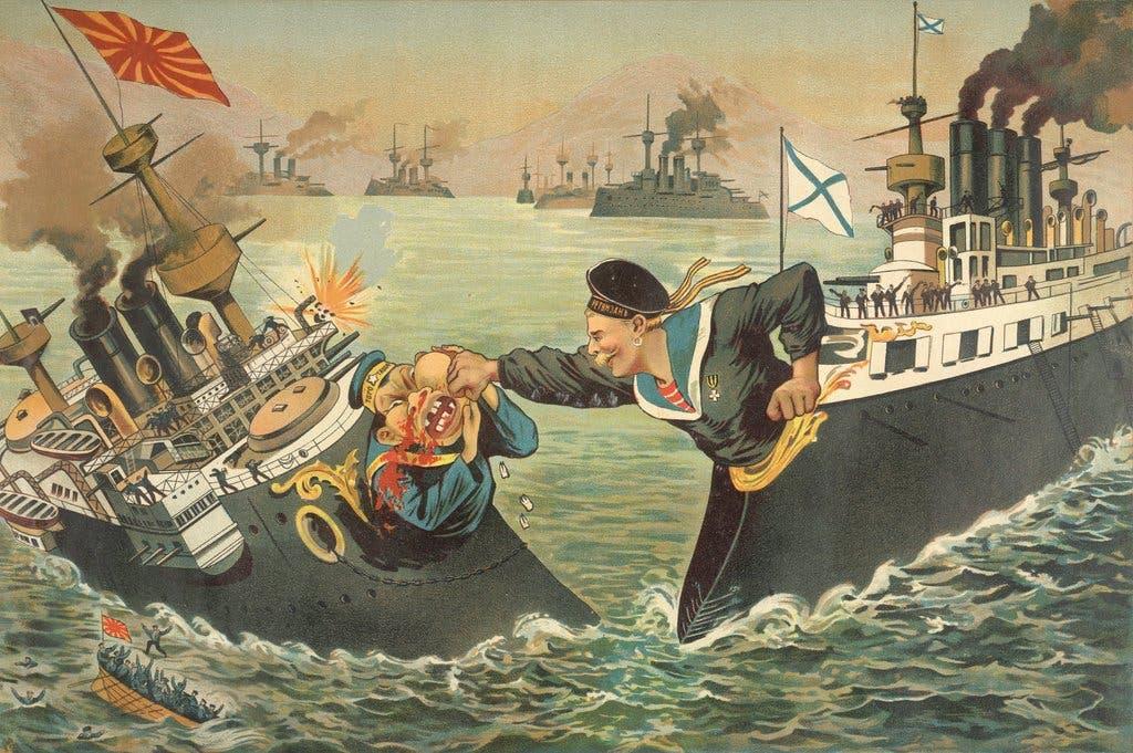 رسم كاريكاتيري ساخر حول الحرب الروسية اليابانية