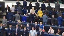 Pro-Brexit MEPs turn backs at European anthem in European Parliament