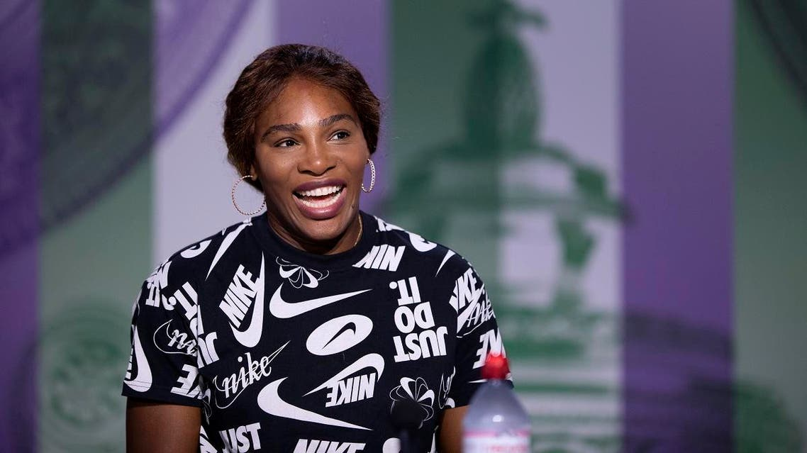 Serena Williams speaks during a press conference ahead of the Wimbledon Tennis Championships in London. (AP)