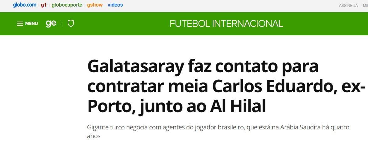 خبر مفاوضة غلطة سراي لكارلوس إدواردو في موقع البرنامج التلفزيوني على الإنترنت