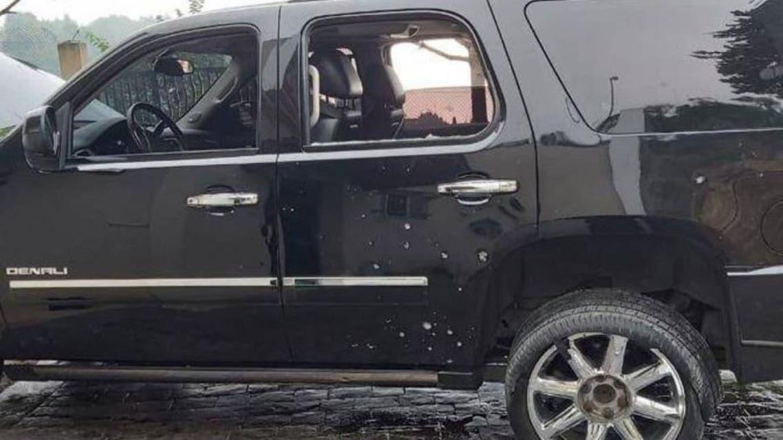 سيارة الوزير اللبناني صالح الغريب بعد الاعتداء عليها