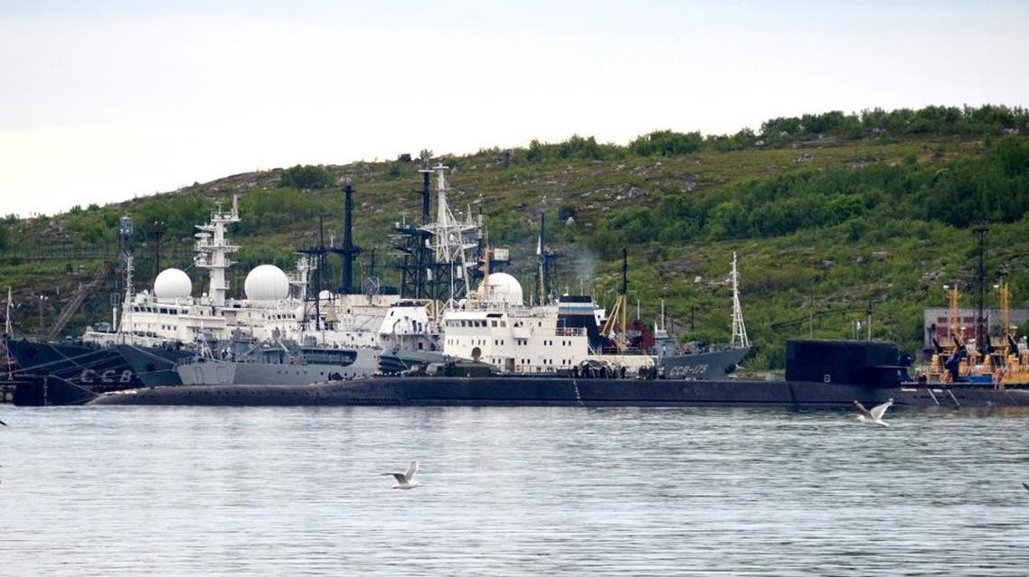 A picture taken on July 2, 2019, shows an unidentified submarine in the city of Severomorsk, in Russia. (AFP)
