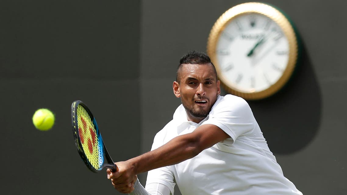 Australia's Nick Kyrgios returns the ball to Australia's Jordan Thompson during their men's singles first round match on the second day of the 2019 Wimbledon Championships (AFP)