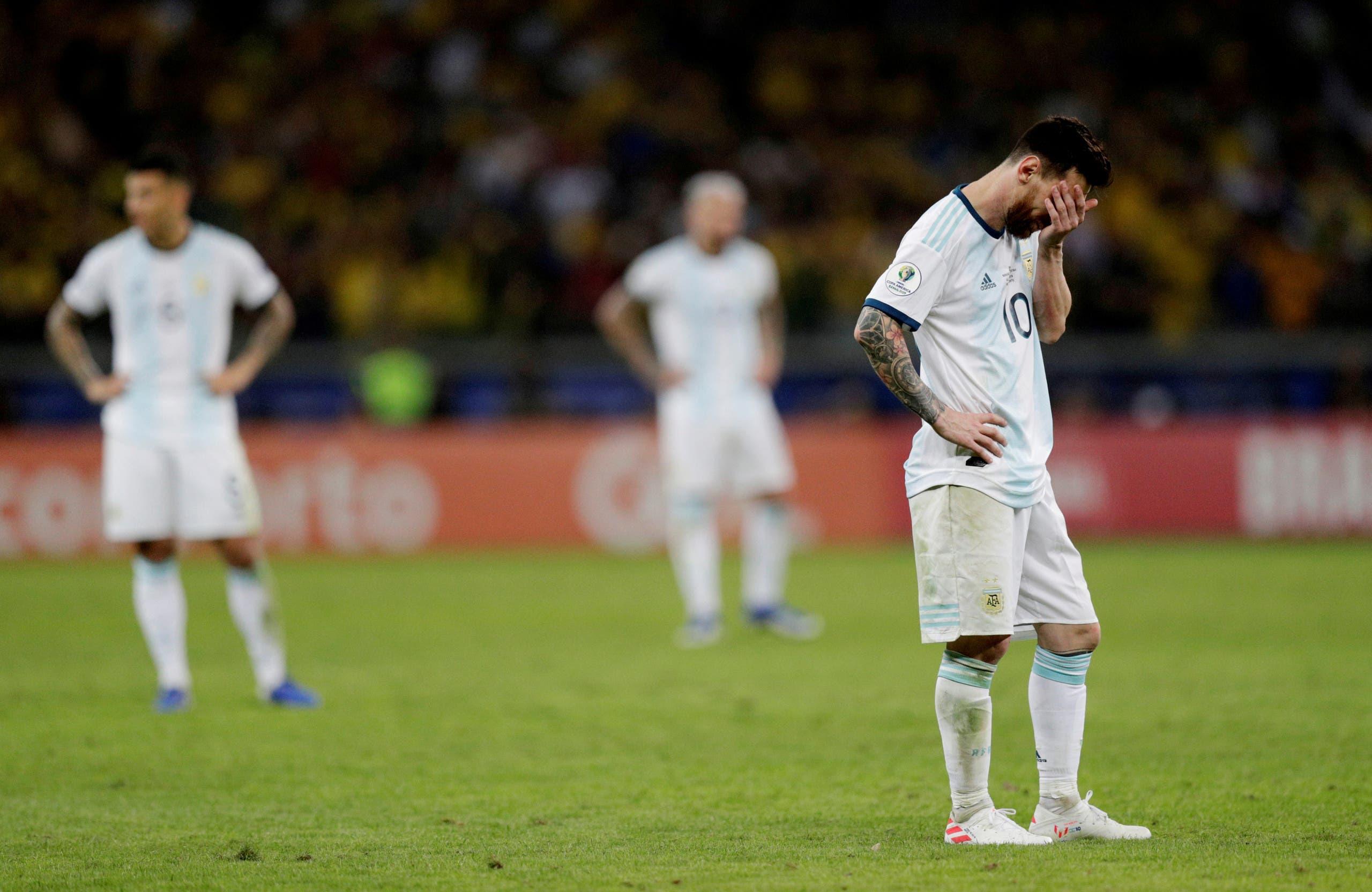 ليونيل ميسي بعد الخسارة أمام البرازيل في نصف النهائي