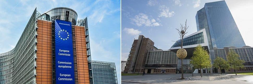 مقر البنك المركزي الأوروبي في فرانكفورت، ومقر المفوضية الأوروبية ببروكسل