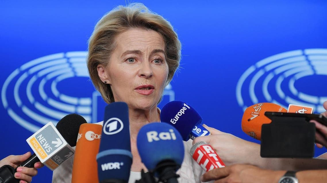 EU Commission Chief Ursula von der Leyen at the European Parliament on July 03, 2019 in Strasbourg, eastern France. (AFP)