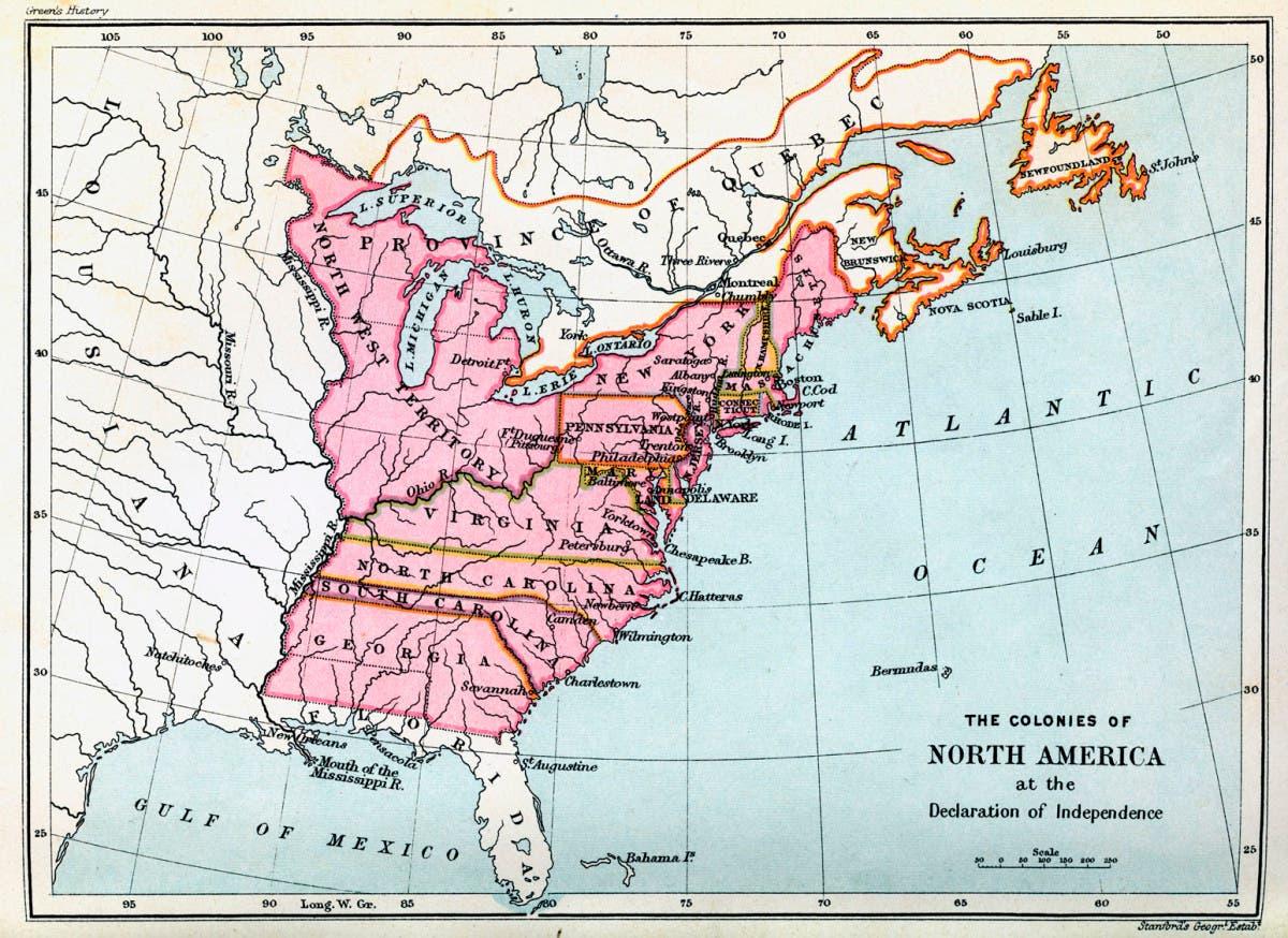 خريطة المستعمرات الثلاثة عشر التي كونت لاحقا الولايات المتحدة الأميركية عقب الاستقلال
