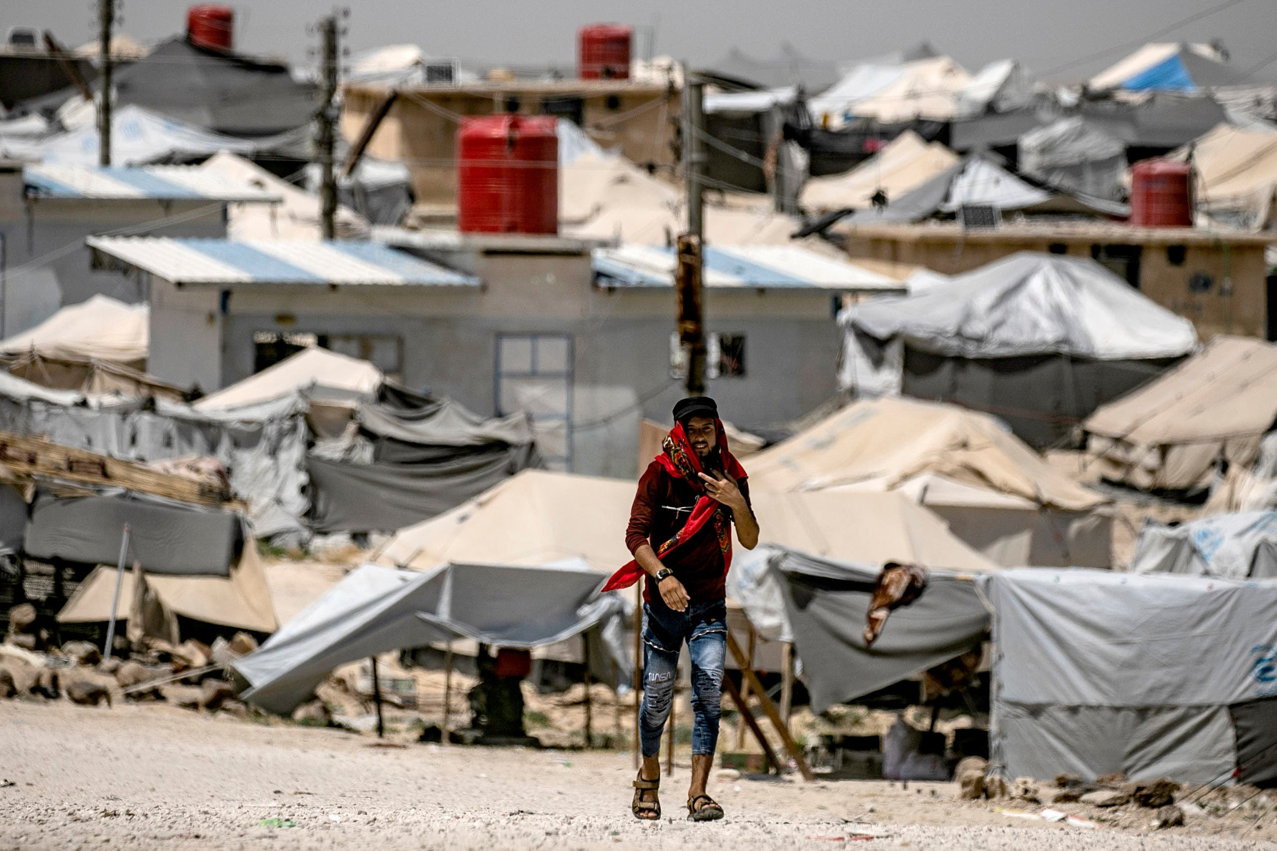 This picture shows al-Hol camp for displaced people in al-Hasakeh governorate in northeastern Syria on June 02, 2019. (AFP)