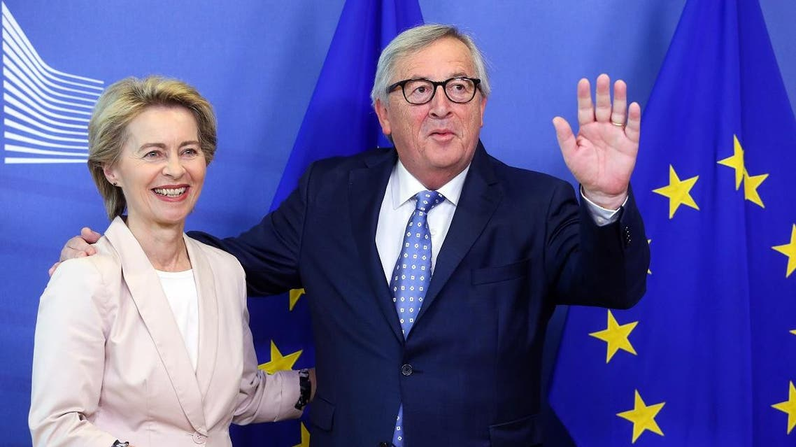 Outgoing president of the European Commission Jean-Claude Juncker (R) meets with German Defence minister and newly-appointed EU Commission Chief Ursula von der Leyen in Brussels on July 4, 2019. (AFP)