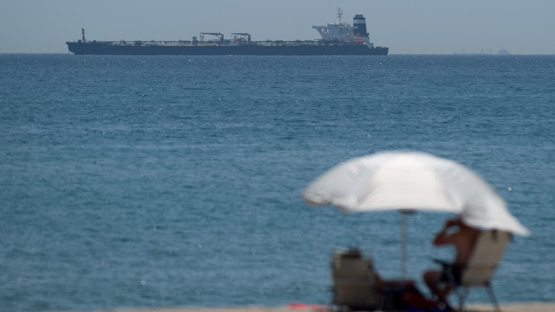 A picture taken from La Linea de la Concepcion in southern Spain shows supertanker Grace 1 suspected of carrying crude oil to Syria in violation of EU sanctions after it was detained in Gibraltar on July 4, 2019.