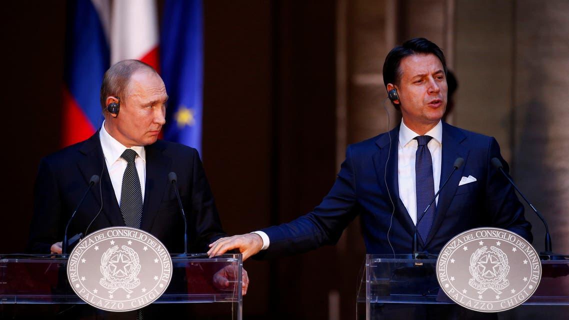 بوتين و خلال مؤتمر صحافي عقده مع رئيس الوزراء الإيطالي جوزيبي كونتي