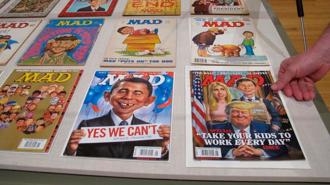 A new exhibit celebrating the artistic legacy of MAD magazine that includes several examples of magazines over the years is displayed. (File photo: AP)