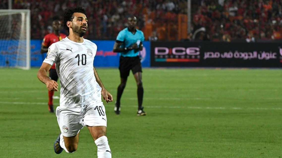 Egypt's forward Mohamed Salah runs during the 2019 Africa Cup of Nations (CAN) Group A football match between Uganda and Egypt at the Cairo International Stadium in the Egyptian capital on June 30, 2019. (AFP)