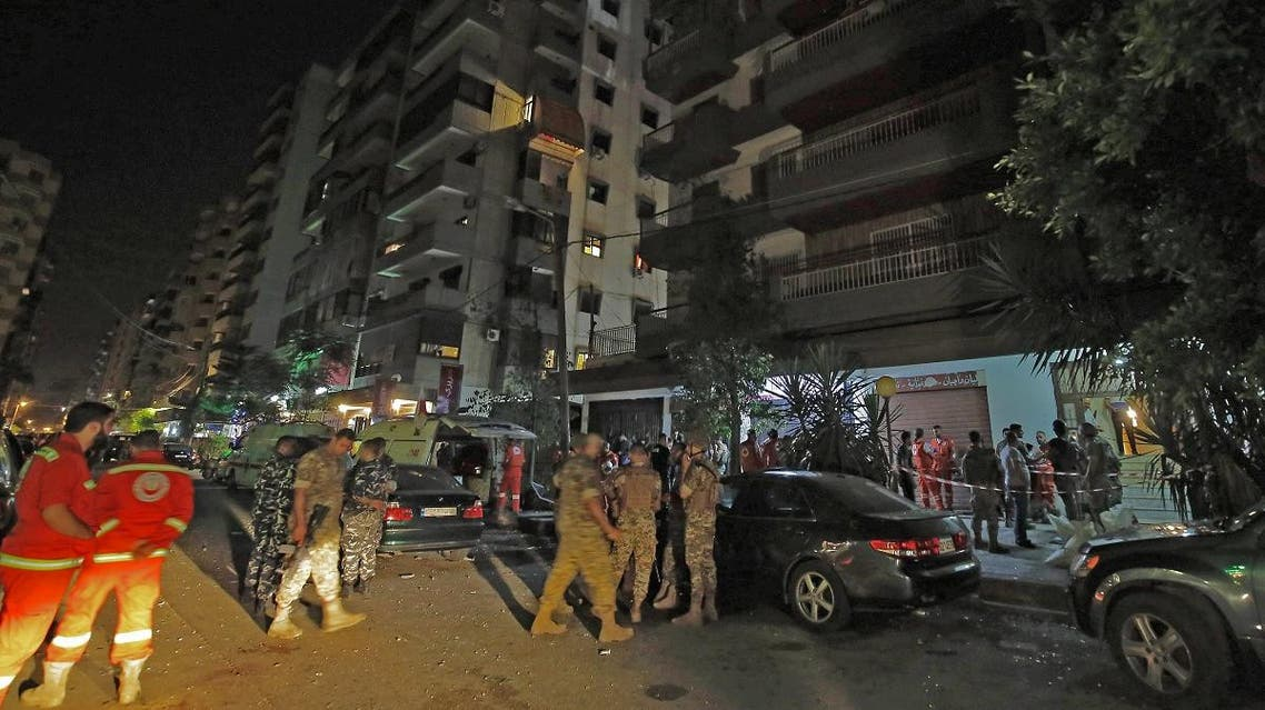 Lebanese security forces inspect the building where a militant attacked a security forces patrol and blew himself up when confronted in the northern port city of Tripoli on June 4, 2019. (AFP)