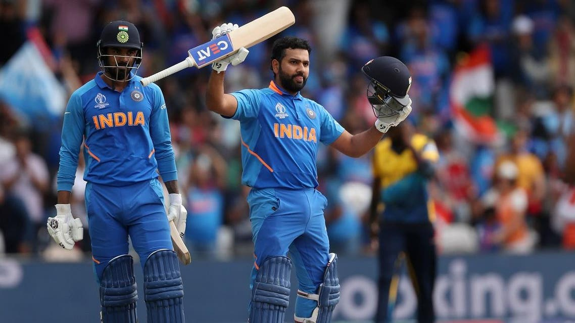 India's Rohit Sharma celebrates after scoring his century in the ICC Cricket World Cup match against Sri Lanka, at Headingley, Leeds, Britain, on July 6, 2019. (Reuters)