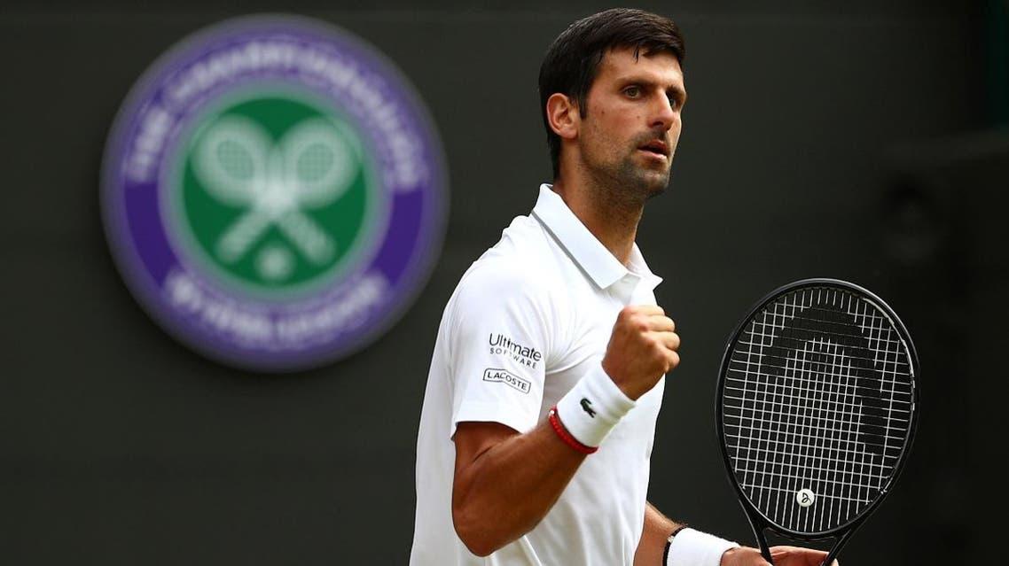Novak Djokovic reacts during his third round match against Poland's Hubert Hurkacz at Wimbledon, London, on July 5, 2019. (Reuters)