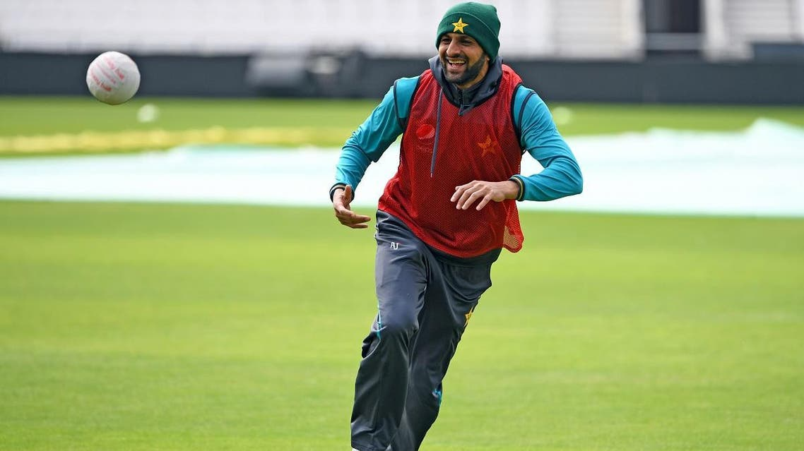 Pakistan's Shoaib Malik takes part in a training session at Headingley in Leeds, northern England ahead of their World Cup cricket match against Afghanistan on June 28, 2019. (AFP)