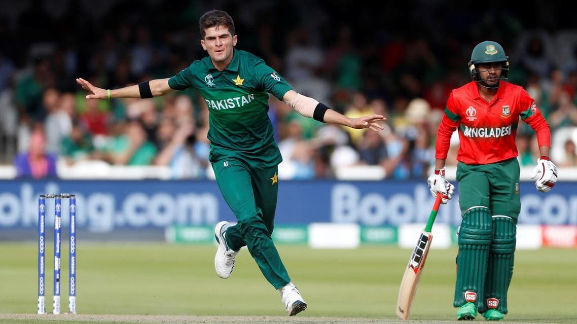 Pakistan's Shaheen Afridi celebrates taking the wicket of Bangladesh's Mahmudullah at Lord's, London, during the ICC Cricket World Cup group match on July 5, 2019. (Reuters)