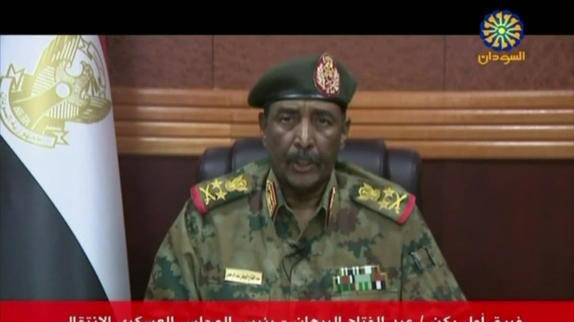A grab from a broadcast on Sudan TV on July 6 shows Lieutenant General Abdel Fattah al-Burhan Abdulrahman, chief of Sudan's Transitional Military Council (TMC), reading a statement in the capital Khartoum. (AFP)