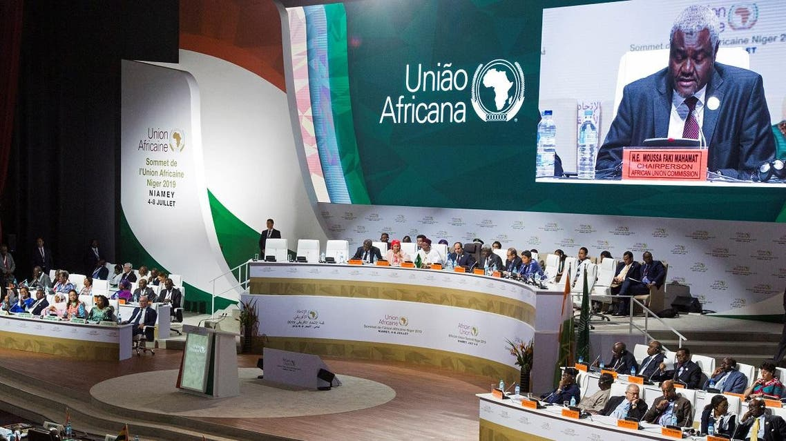 African Union Commission Chairperson Moussa Faki Mahamat speaks during the African Union summit in Niamey, Niger, on July 7, 2019. (Reuters)