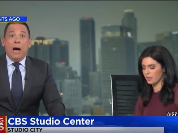 """شاهد.. زلزال كاليفورنيا """"على الهواء مباشرة"""" والمذيعة تختبئ!"""