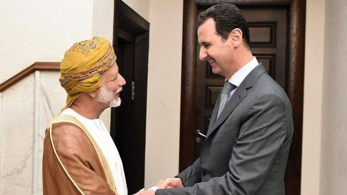 A handout picture released by the official Syrian Arab News Agency (SANA) shows Syrian President Bashar al-Assad (R) receiving Oman's Minister of Foreign Affairs Yussef bin Alawi bin Abdullah in Damascus on October 26, 2015. (AFP)